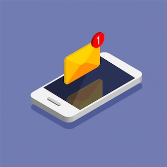 Getting new letter. smartphone and envelope in trendy isometric style. e-mail, email, message, notification illustration.