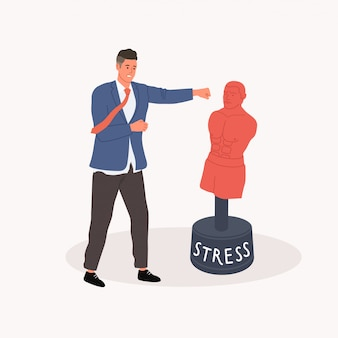 Getting rid of stress concept. office worker punching a pear dummy.  illustration