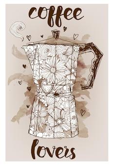 간헐천 커피 메이커, 꽃 패턴 벡터 스케치 배경