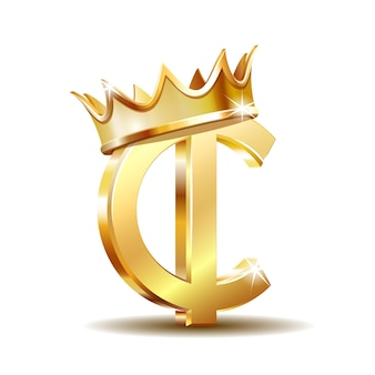 Ghana cedi currency symbol with golden crown