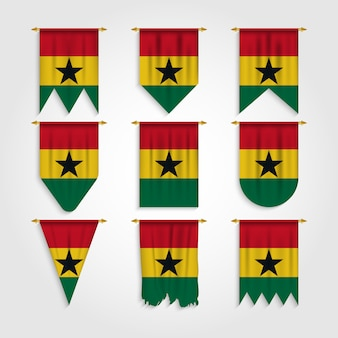 Ghana flag in different shapes, flag of ghana in various shapes