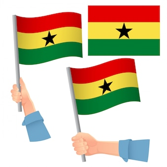 Ghana flag in hand set