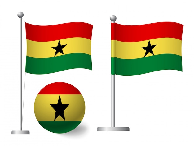 Ghana flag on pole and ball icon