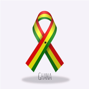 Ghana flag ribbon design