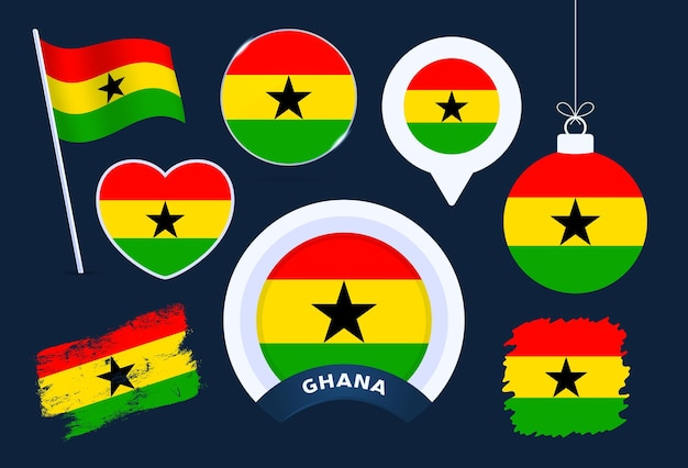 Ghana flag vector collection. big set of national flag design elements in different shapes for public and national holidays in flat style.