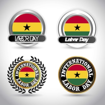 Ghana flag with labour day design vector