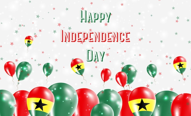 가나 독립 기념일 애국 디자인. 가나 국가 색의 풍선. 행복 한 독립 기념일 벡터 인사말 카드입니다.