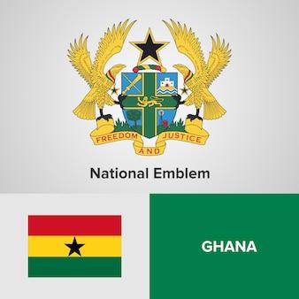 Ghana national emblem and flag