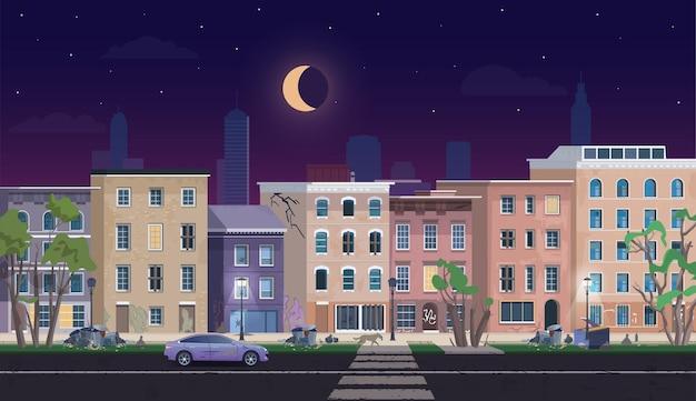 夜のゲットーの風景、汚いシャンティハウスは不利な放棄された住宅地