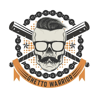Ghetto warrior. skull with moustache and sunglases.  elements for t-shirt print, poster template.  illustration.