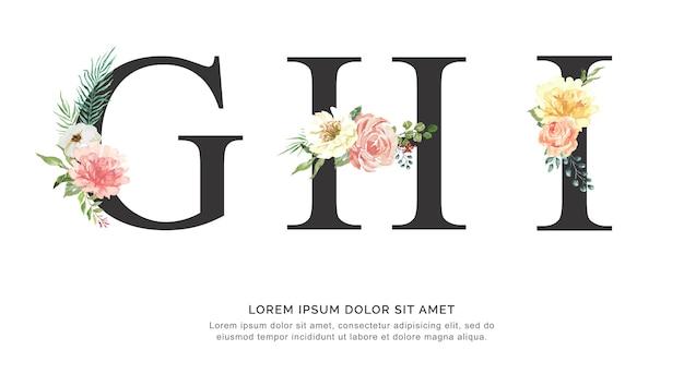 Алфавит ghi цветок и листья акварели.