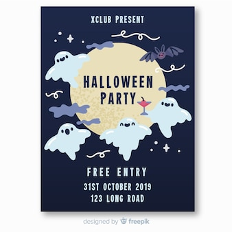 Ghost and bats flying halloween party poster