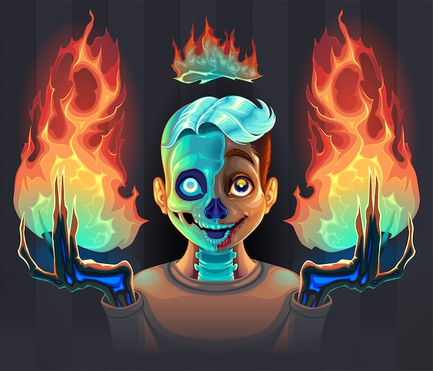 Ghost boy with fire in his hands