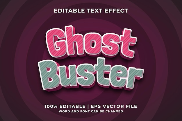 Ghost buster 3d editable text effect premium vector