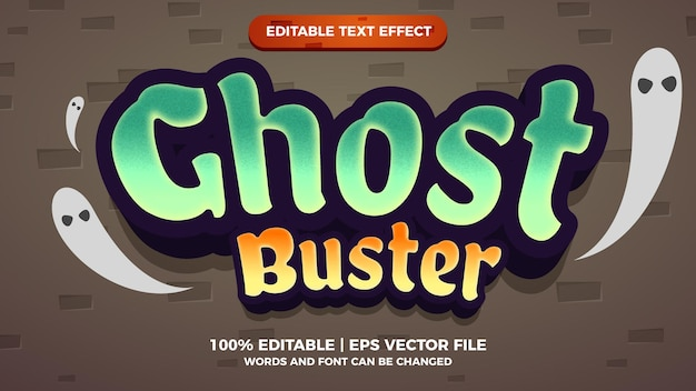 Ghost buster cartoon comic editable text effect style template