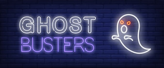 Ghost busters neon style banner
