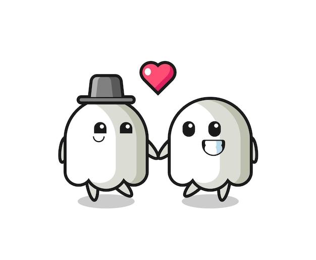 恋に落ちるジェスチャー、tシャツ、ステッカー、ロゴ要素のかわいいスタイルのデザインと幽霊漫画のキャラクターのカップル