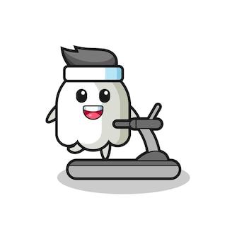トレッドミルの上を歩く幽霊漫画のキャラクター、tシャツ、ステッカー、ロゴ要素のかわいいスタイルのデザイン
