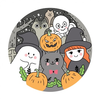 Ghost and cat and witch and skeleton and owl and bat and pumpkin at night