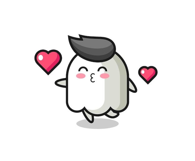 Призрачный персонаж мультфильма с жестом поцелуя, милый стиль дизайна для футболки, стикер, элемент логотипа
