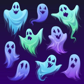 ゴーストキャラクター。ハロウィーンの恐ろしい幽霊のようなモンスター、幽霊。かわいい面白いフレンドリーなグール、ホラーファントム、ホリデーコスチューム漫画バスター恐ろしい生き物