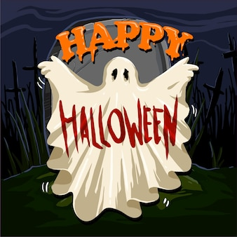 Ghost costume in the graveyard with the letter happy halloween vector illustration