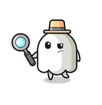 유령 탐정 캐릭터가 케이스, 티셔츠, 스티커, 로고 요소를 위한 귀여운 스타일 디자인을 분석하고 있습니다.