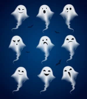 Ghost emotions realistic icons set