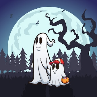Ghost father and son trick-or-treating illustration.