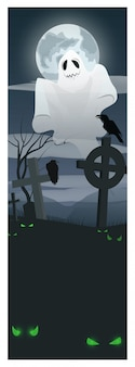 Ghost flying over graveyard illustration