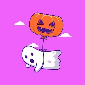 Ghost flying with halloween balloon cartoon illustration. halloween flat cartoon style concept