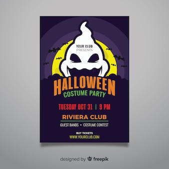 Ghost in front of the moon halloween party flyer