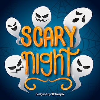 Ghost funny faces scary night lettering