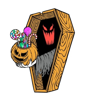 The ghost gives candy from inside the coffin illustration