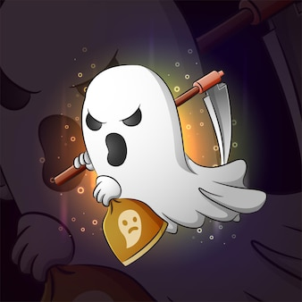 The ghost of grim reaper esport logo design of illustration