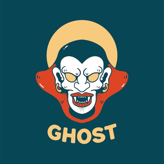 Ghost halloween illustration retro style for t-shirt design
