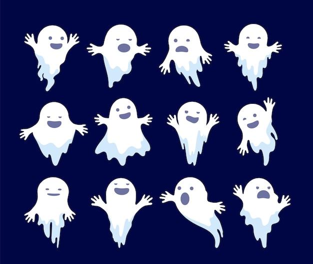 幽霊。ハロウィーンの不気味なファントム、怖い霊。謎の死んだモンスターは幽霊のようなキャラクターを漫画します。イラスト幽霊の休日、白い幽霊のような謎のイラスト