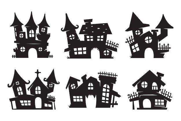 Дом-призрак вектор. силуэт призрачного замка для украшения открыток на хэллоуин