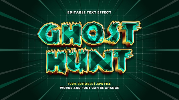 Ghost hunt editable text effect in modern 3d style