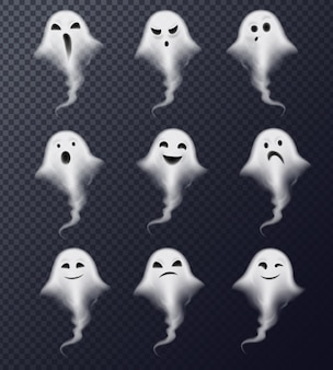 Ghost image of vapor steam smoke realistic spooky emotions icons collection against dark transparent
