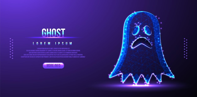 Ghost low poly wireframe