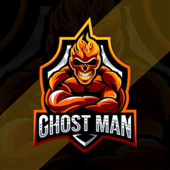 Ghost man mascot logo esport design