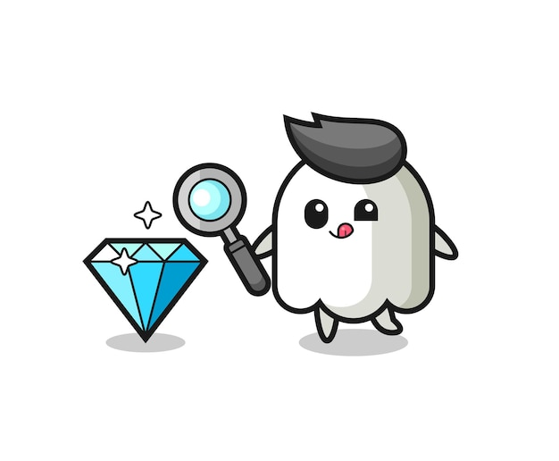 Ghost mascot is checking the authenticity of a diamond , cute style design for t shirt, sticker, logo element