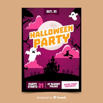 Ghost in the night halloween party flyer