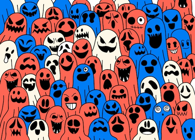 Ghost pattern halloween  spooky scarf isolated repeat wallpaper, tile background devil evil cartoon illustration doodle