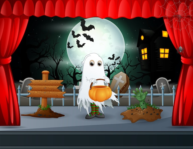 A ghost performing on the halloween stage