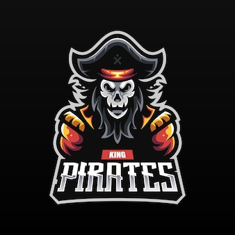 Ghost pirate captain with skull head mascot for esport