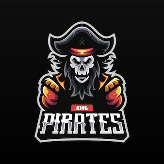 Eスポーツ用の頭蓋骨ヘッドマスコットとゴースト海賊キャプテン