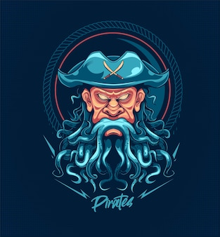 Ghost pirate with octopus hair vector illustration