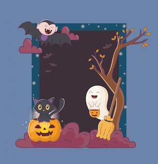 Ghost pumpkin cat dracula frame celebration halloween